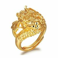 New Ring Drogon Carved Men's 18k Real Yellow Gold Filled Rings Lucky Gift Jewery