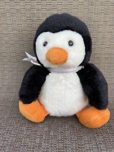 "Russ Berrie Shining Stars Penguin Black and White Plush Animal Toy New 8"""