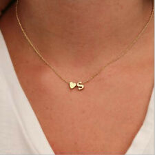 New Gold Plated Initial Alphabet Letter A-S Heart Pendant Chain Choker Necklace
