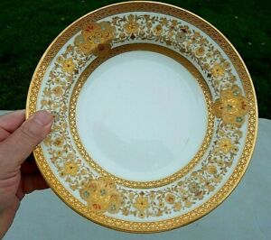 HAVILAND LIMOGES 9 INCH GOLD ENCRUSTED W/ MULTI COLORED ENAMELED JEWELED PLATE