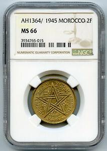 Marokko Mohammed V 2 Franken 1364H/1945 NGC Ms 66 KM-Y42 Top Einwohner