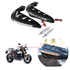 Pair Motorcycle Hand Guards Handguards W/Mount Kits Hand Protector LED Light