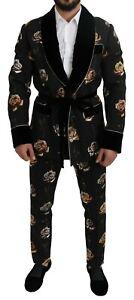 DOLCE & GABBANA Suit Black Floral Shawl 2 Pieces Soft s. IT48/US38/M