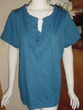 NWOT ST JOHNS BAY BLUE RUFFLE TOP SHIRT TEE SZ 1X K88  NEW