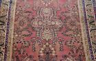 """Antique 1880s Kermann Hand Knotted Wool Pink Rose Oriental Rug  4'3"""" x 6'5"""""""
