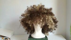 CALIFORNIA COSTUME TWO TONE AFRO ADULT WIG, NICE QUALITY, BROWN BLOND CURLS, BIG