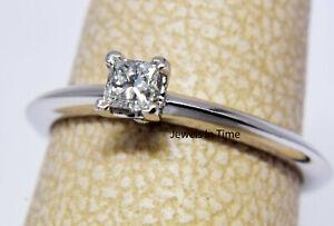 Tiffany & Co. 0.17 Carat Princess Cut Diamond & Platinum Ring & Box Size 6