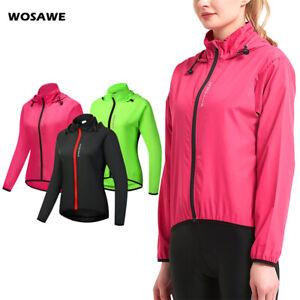 Women Cycling Hooded Jacket Windproof MTB Bike Reflective Tops Racing Sportswear