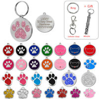 Paw Print Personalised Dog Tags Engraved Pet Puppy ID Name Tag Bling Glitter S-L