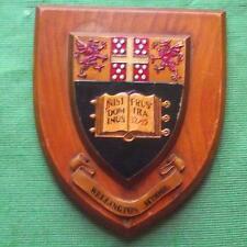 Old Heraldic University Wellington School College Crest Shield Plaque