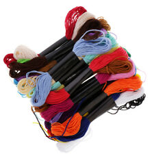 24Pcs Rainbow Color Embroidery Floss Cross Stitch Threads Skein Yarn Crafts