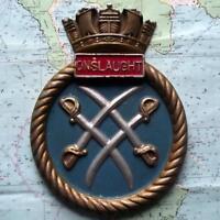 Old Solid Metal Navy Bulkhead Crest Tompion Tampion HMS Onslaught