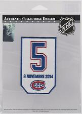 NHL MONTREAL CANADIENS RETIREMENT PATCH FOR GUY LAPOINTE # 5 NOVEMBER 8