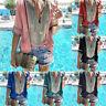 Summer Women T-Shirt Boho Print Tee Deep V-Neck Long Sleeve Shirts Top Blouse