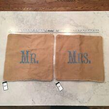 Ralph Lauren Tangier - 18 x 18 Throw Pillow Shams - Mr. & Mrs. - 100% Linen