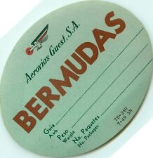 AEROVIAS GUEST Airline to the BERMUDAS - Great Old Luggage Label, 1949