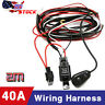 12V 40A LED Work Fog Light Bar Wiring Harness Kit ON/OFF Switch Relay Cable