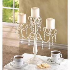 """elegant Ivory glittering Beaded Crystals graceful CANDELABRA Candle holder 14"""""""