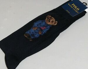 POLO RALPH LAUREN Men's Cotton BLUE JEAN JACKET BEAR Socks 10-13 Fits Most, NAVY