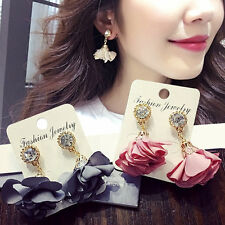 Women Gold Plate Fabric Flower Rhinestone Earring Ear Stud Dangle Crystal Gift