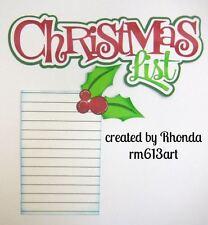XMAS List Set paper piecing title premade scrapbook page by Rhonda rm613art