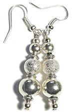 Long Silver Bead Earrings Antique Vintage Tibetan Style Charm Boho Artisan