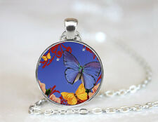 Altered Art Butterfly Tibetan silver Dome glass Art Photo Chain Pendant Necklace