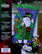 """Bucilla Irish Santa ~ 18"""" Felt Christmas Stocking Kit #85427, Shamrocks, Gifts"""