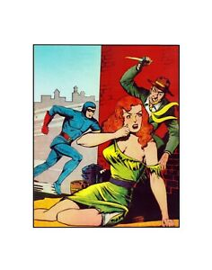 The Blue Beetle... Hot Chicks, Mean Streets! Fox Comics Golden Age  Sericel