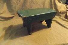 """Primitive Antique Painted Green Mortised Wood Boot Jack Footstool 7.5x15x8"""""""