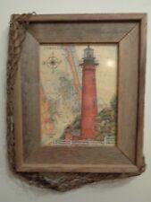 Nautical Currituck Light House, Driftwood Frame, Netting, North Carolina Picture