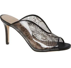 Kurt Geiger London Black Perspex Sandals Size UK 5 EU 38 Stiletto Peep Toe Mule
