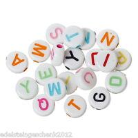 1000 Mix Buchstaben Flachrund Acryl Perlen Beads Scheiben Weiß 7x7mm