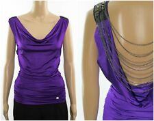 ex Chainstore Purple Cowl Low Back Backless Chain Embellished Top