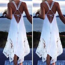 2018 Plus Size Women Summer Sleeveless Backless Beach Ball Gown Long Maxi Dress