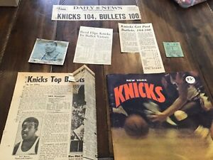 MARCH 19,1969  Bullets @New York Knicks Program Ticket Stub& Clippings Frazier