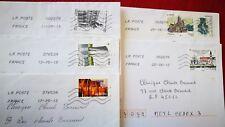 """5 timbres oblitérés sur lettre , thème """" monuments et villes """""""
