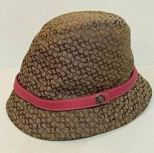 Coach Signature C Logo Crusher Bucket Hat Pink Leather Belt Trim P/S