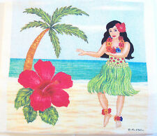 Alice's Cottage Cotton Flour Sack Kitchen Tea Towel Hawaii Hula Girl - NEW