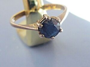 Antique Unmarked 9ct Gold and Sapphire Blue Stone Ring. Tested. 2.06 grams