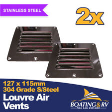 2 x Stainless Steel Louvre Air Vents for Boats & Caravans - 127mm x 115mm