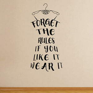 If You Like It Wear It Fashion Quote Wall Sticker Decal Bedroom Home Vinyl UK