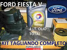 KIT TAGLIANDO FILTRI + OLIO TOTAL FORD FIESTA 5 V 1.4 TDCI DAL 2001 AL 2008