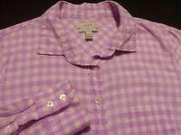 J. Crew Womens sz 4 Long Sleeve Button-Down Pink Plaid Check Shirt