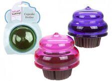 NEW SET OF 3 CUPCAKE HOLDER PLASTIC CASE CAKE FRESH SAFE PINK GREEN & PURPLE PMS