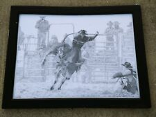 Texas Tech RED RAIDERS Bull Riding WRANGLER Jeans Cowboy SIGNED Litho 21x27 ❤️J8