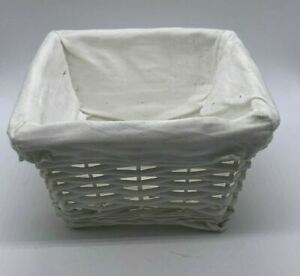 Small Square Stylish White Woven Wicker Storage Basket with White Fabric Lining