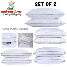 Pack Of 2 Natural Goose Down Feather Pillows Standard Queen King Bedding