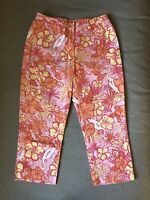 Lilly Pulitzer Womens Capris Cropped Pants Egrets Flowers Size 10 Used