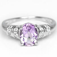 Sterling Silver 925 Genuine Natural Oval Amethyst Solitaire Ring Size S1/2 US9.5